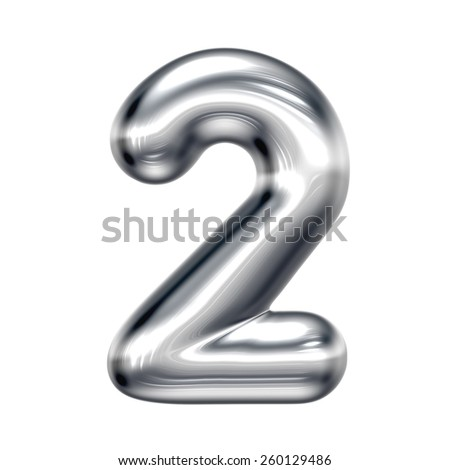 Number 2 from round chrome alphabet. There is a clipping path - stock photo