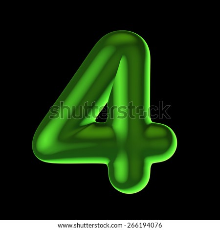 Number 4 from round green back light alphabet. There is a clipping path - stock photo
