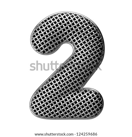 Number 2 from round microphone style alphabet. There is a clipping path - stock photo