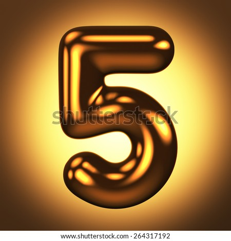 Number 5 from round pure gold alphabet. There is a clipping path. The background is presented as an example. It can be replaced - stock photo