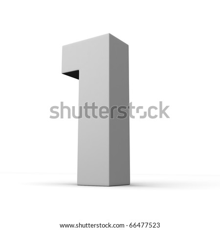 Number 1 from solid alphabet. There is a clipping path - stock photo