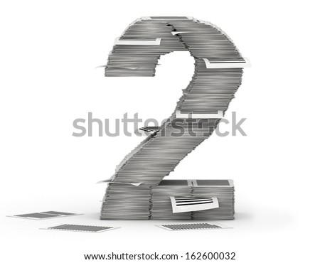Number 2, from stacks of paper pages font - stock photo