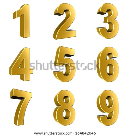 Number from 1 to 9 in gold over white background - stock photo