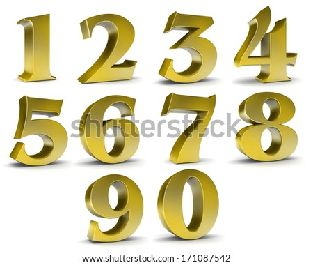Number from 0 to 9 in gold over white background  - stock photo
