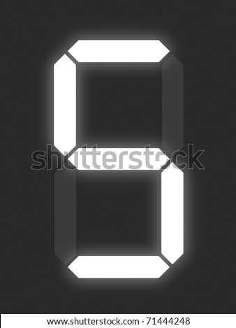 Number 5 from white digital display series - stock photo