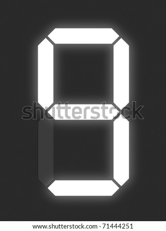 Number 9 from white digital display series - stock photo
