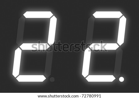 Number 2 from white digital display set - stock photo