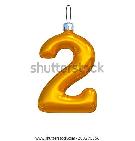 Number 2. Golden shining christmas ball. Alphabet isolated on white background. - stock photo