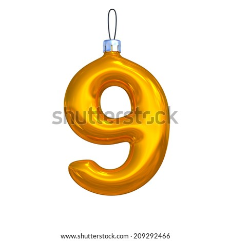 Number 9. Golden shining christmas ball. Alphabet isolated on white background. - stock photo