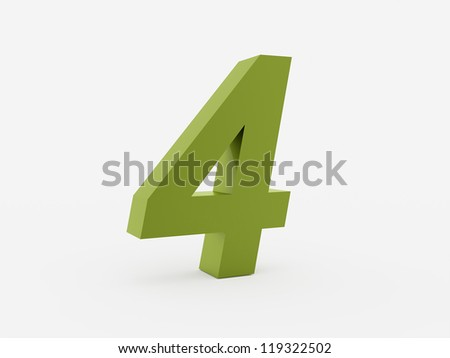 Number 4 green isolated