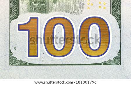 Number 100. Hundred dollars bill fragment macro, new edition. - stock photo