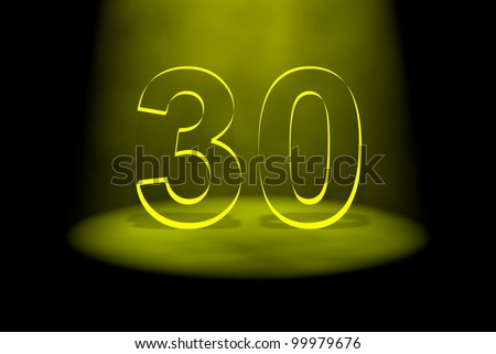 Number 30 illuminated with yellow light on black background - stock photo