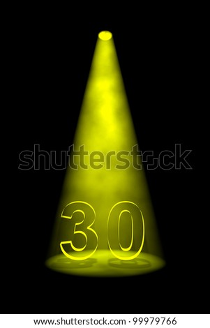 Number 30 illuminated with yellow spotlight on black background - stock photo