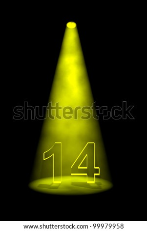 Number 14 illuminated with yellow spotlight on black background