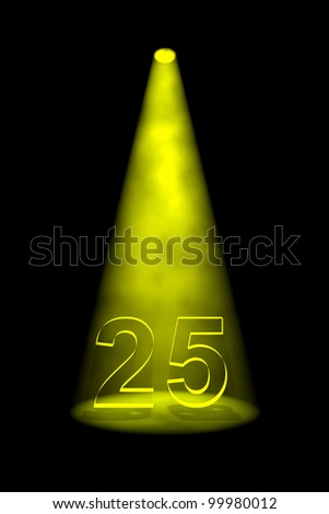 Number 25 illuminated with yellow spotlight on black background - stock photo