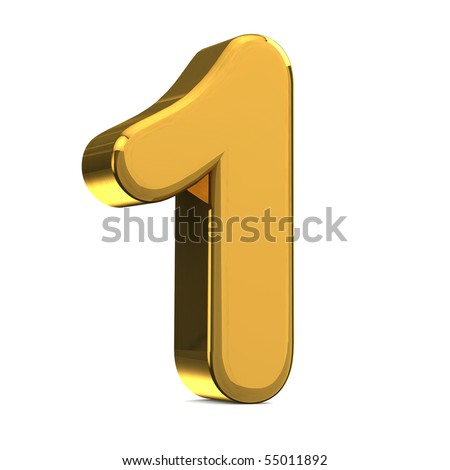 Number 1, in gold metal on a white isolated background - stock photo