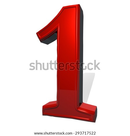 Number 1 in red reflecting material, isolated over white, with shadow, 3d render, square image - stock photo
