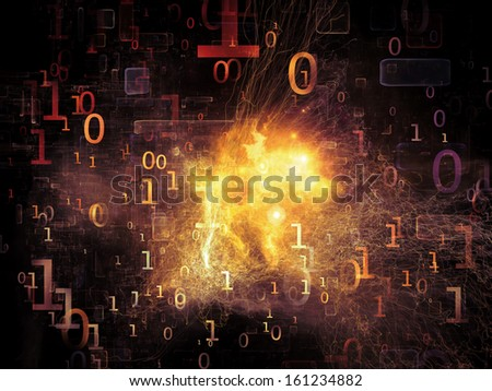 Number in Space series. Backdrop design of numbers, fractal textures and lights to provide supporting composition for works on computers, mathematics, science and education - stock photo