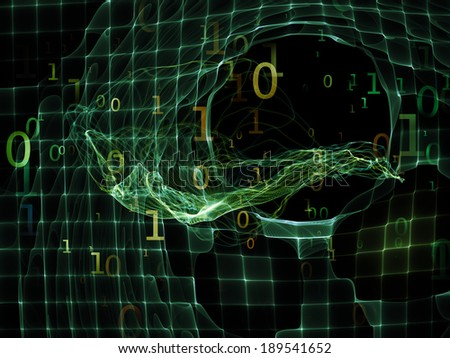 Number in Space series. Visually attractive backdrop made of numbers, fractal textures and lights suitable as element for layouts on computers, mathematics, science and education - stock photo