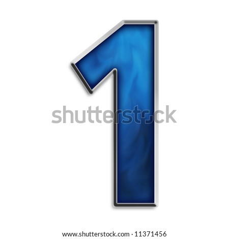 Number 1 in steel smokey blue isolated on white - stock photo