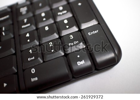 number keyboard of computer , selective focus on enter key