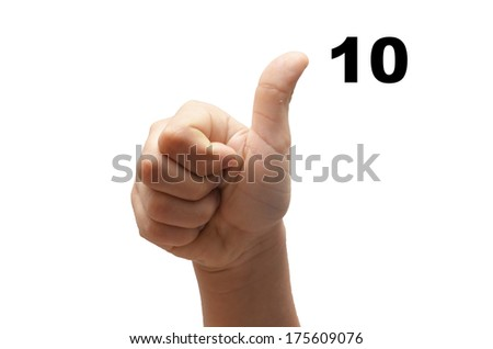 Number 10  kid hand spelling american sign language ASL on white background - stock photo