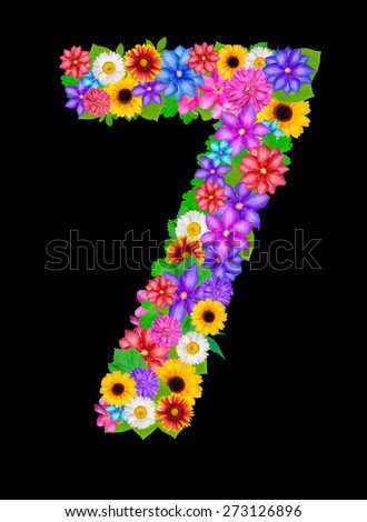 number 7 made from flowers isolated on black - stock photo