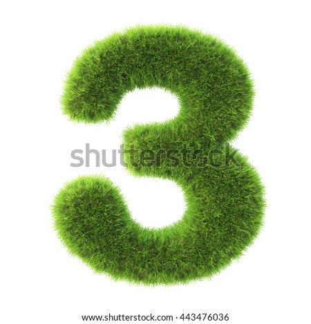 number made from green grass. isolated on white. 3D illustration. - stock photo