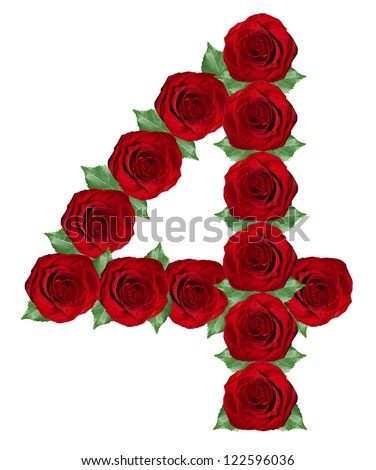 Number 4  made from  red roses and green leaves isolated on a white background