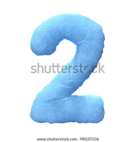 Number 2, made of blue ice isolated on white background.