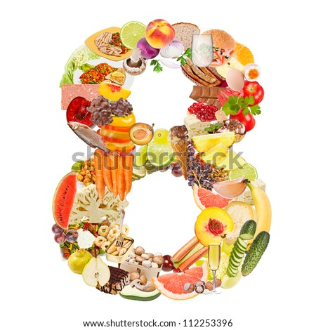 Number 8 made of food isolated on white background - stock photo
