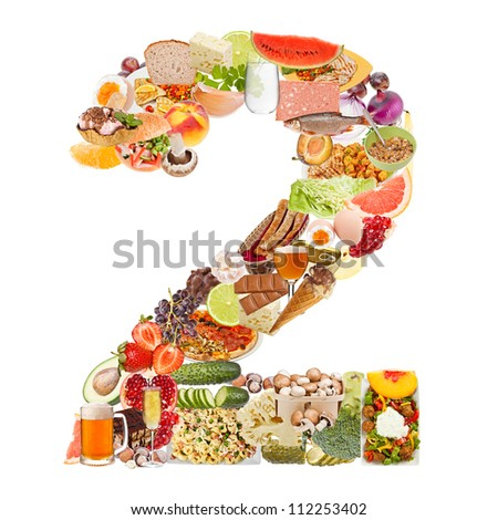 Number 2 made of food isolated on white background - stock photo