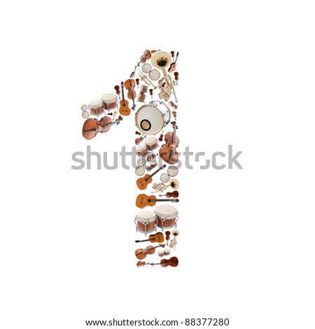 Number 1 made of Musical instruments isolated on white