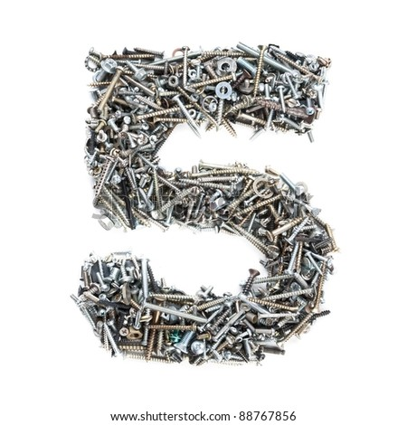 Number '5' made of screws isolated on white - stock photo