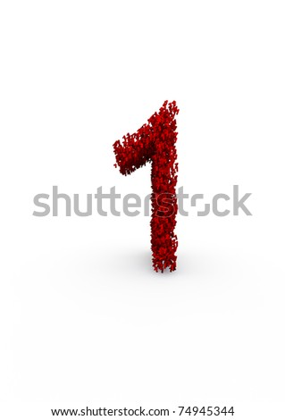 number 1 made of thousands of smaller ones easy to colorize - stock photo