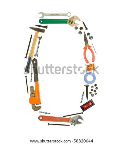 Number '0' made of tools isolated on white - stock photo