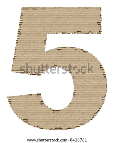 number 5 made of torn cardboard - stock photo