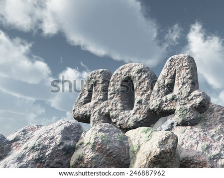 number 404 monument under cloudy sky - 3d illustration - stock photo