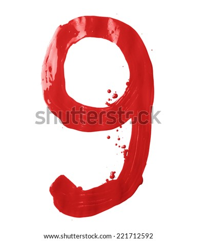 Number nine digit character hand drawn with the oil paint brush strokes isolated over the white background - stock photo