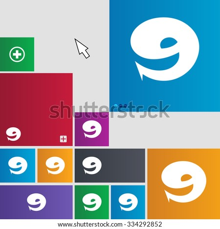 number Nine icon sign. Set of coloured buttons. illustration