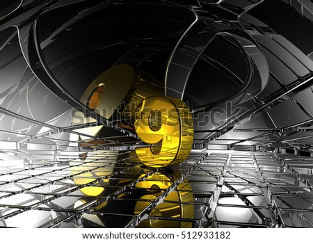 number nine in abstract futuristic space - 3d rendering