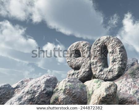 number ninety rock under cloudy blue sky - 3d illustration - stock photo