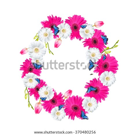 Number O flower isolated on white background. Gerber, tulips and butterfly  - stock photo