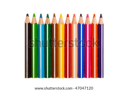 number of colored pencils on white background  (isolated on white background) - stock photo