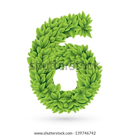 Number 6 of green leaves - stock photo