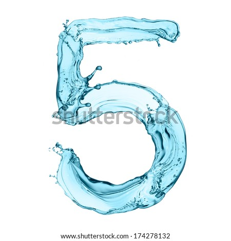 Number 5 of water splashes isolated on white background - stock photo