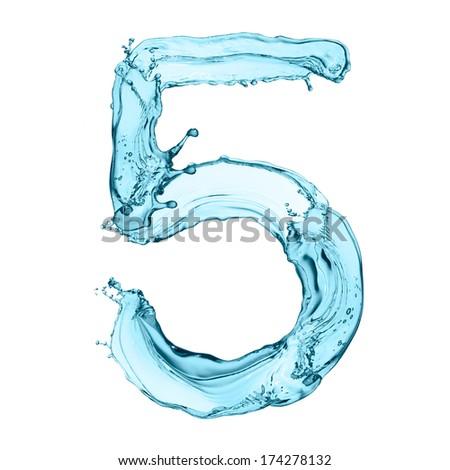 Number 5 of water splashes isolated on white background - stock photo