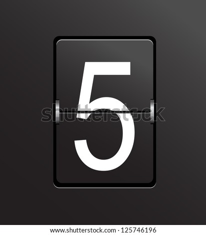 Number 5 on black, panel background. - stock photo