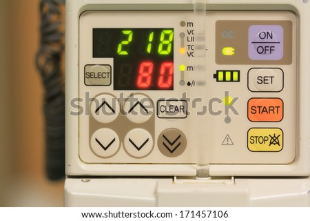 number on IV machine in the room - stock photo