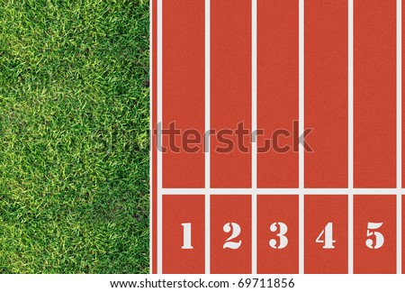 Number on the start of a running track from bird eyes perspective - stock photo